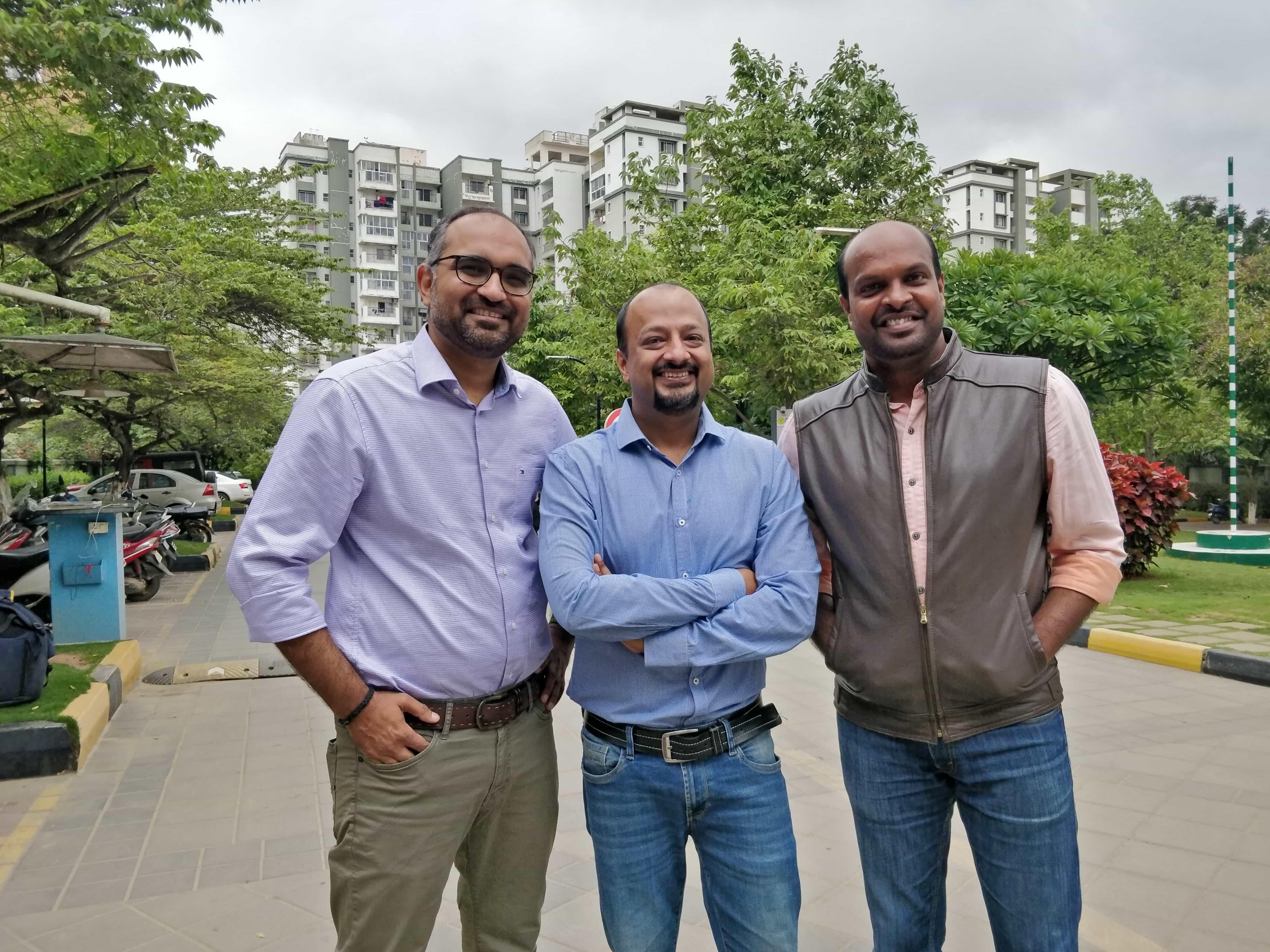 Three co-founders of Mygate: Vijay Arisetty, Abhishek K, and Shreyans Daga
