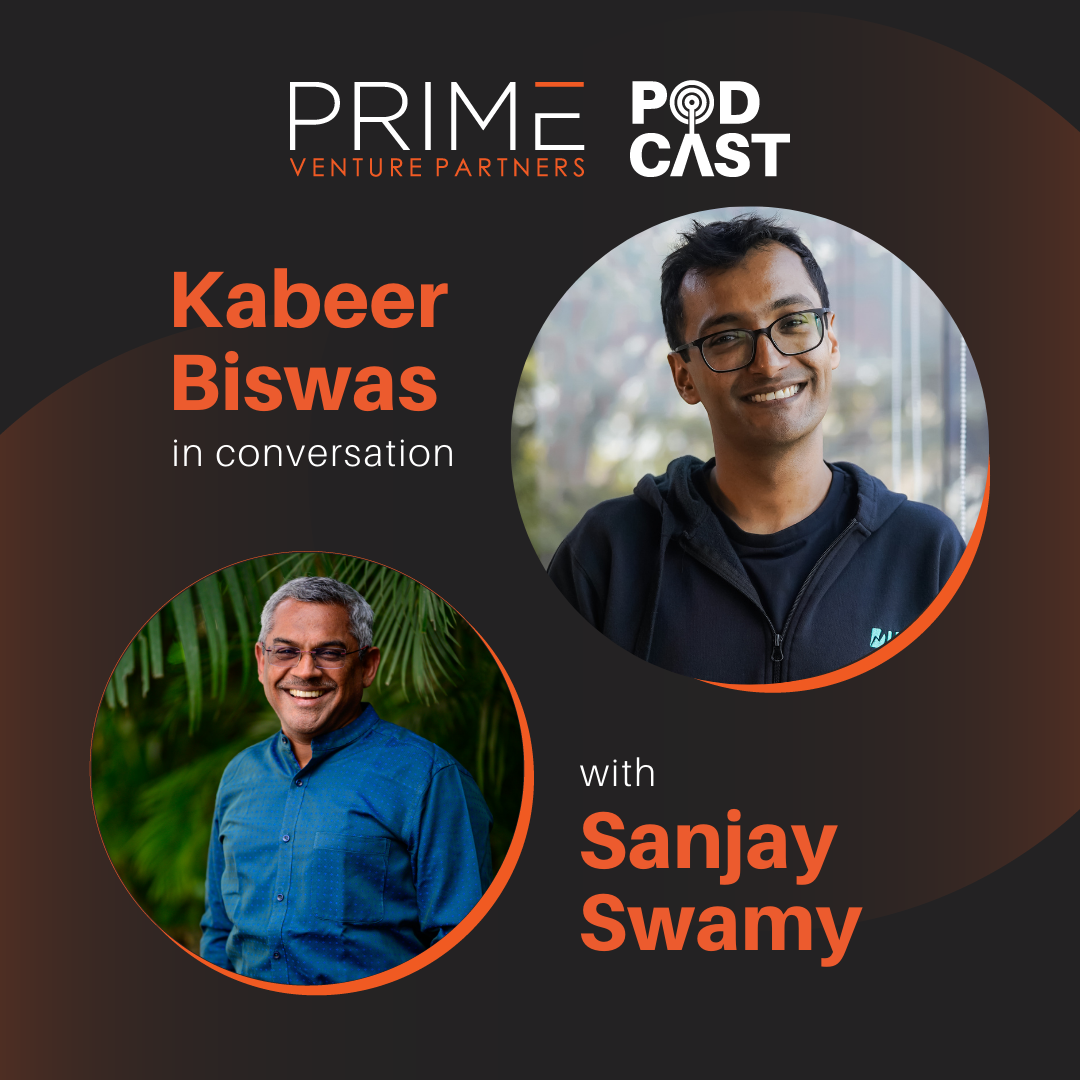 A graphic with guest(Kabeer Biswas) and host's (Sanjay Swamy) name and image.