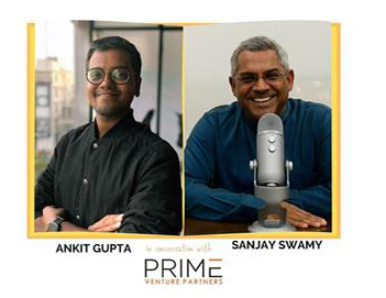 A graphic with guest(Ankit Gupta) and host's (Sanjay Swamy) name and image.