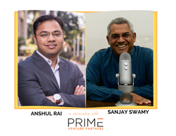 A graphic with guest(Anshul Rai) and host's (Sanjay Swamy) name and image.