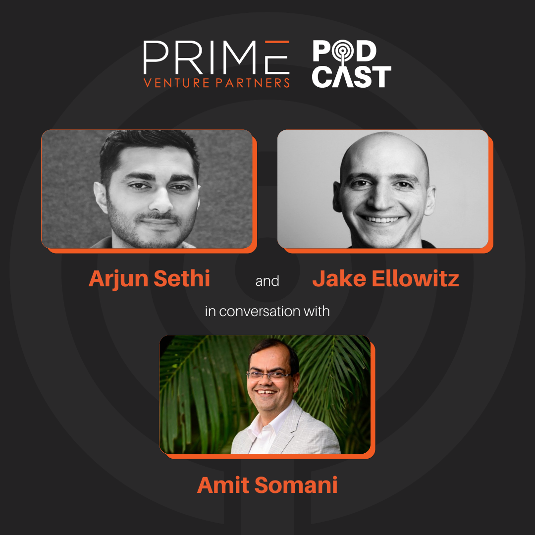 A graphic with guests(Arjun Sethi & Jake Ellowitz) and host's (Amit Somani) name and image.