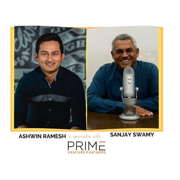 A graphic with guest(Ashwin Ramesh) and host's (Sanjay Swamy) name and image.