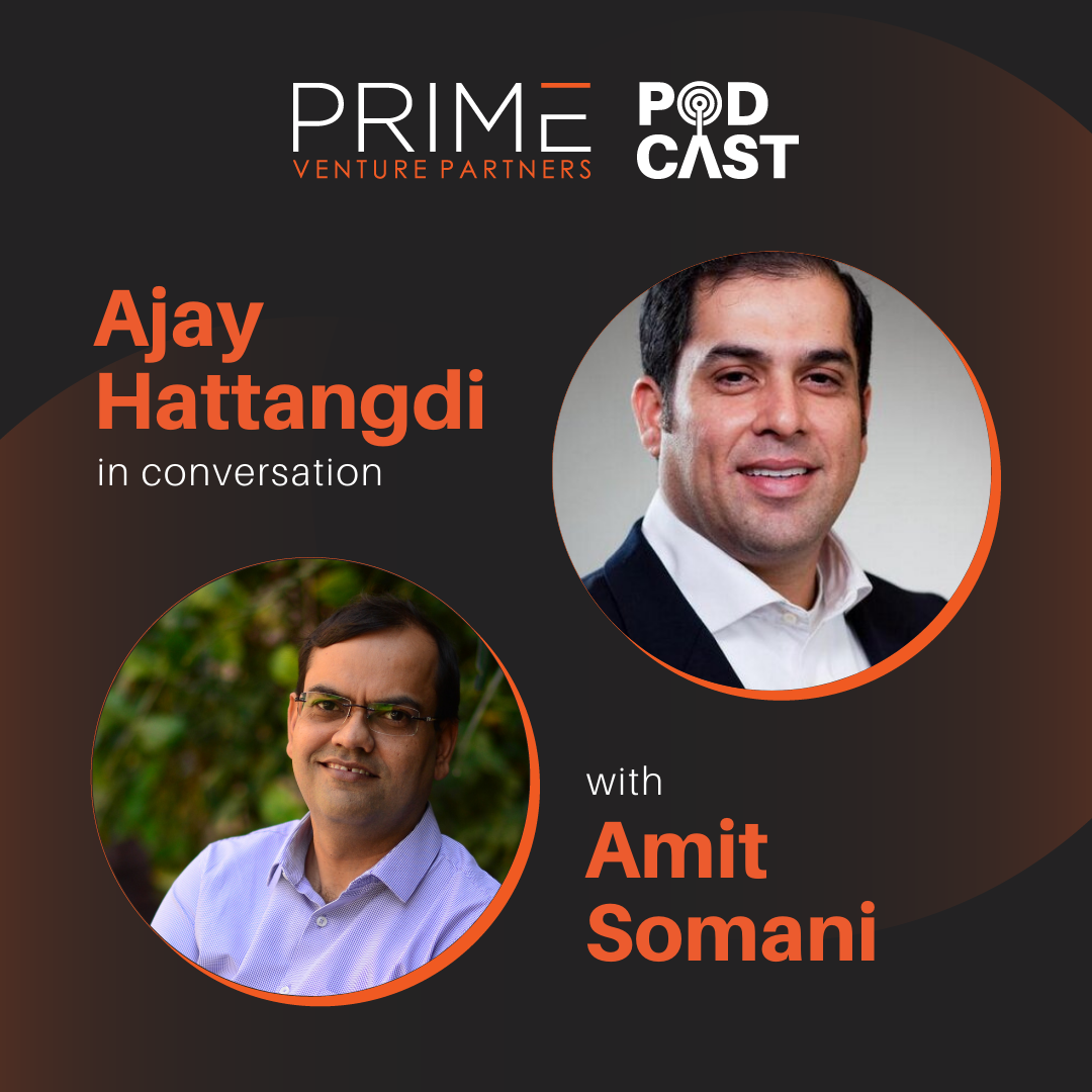 A graphic with guest(Ajay Hattangdi) and host's (Amit Somani) name and image.
