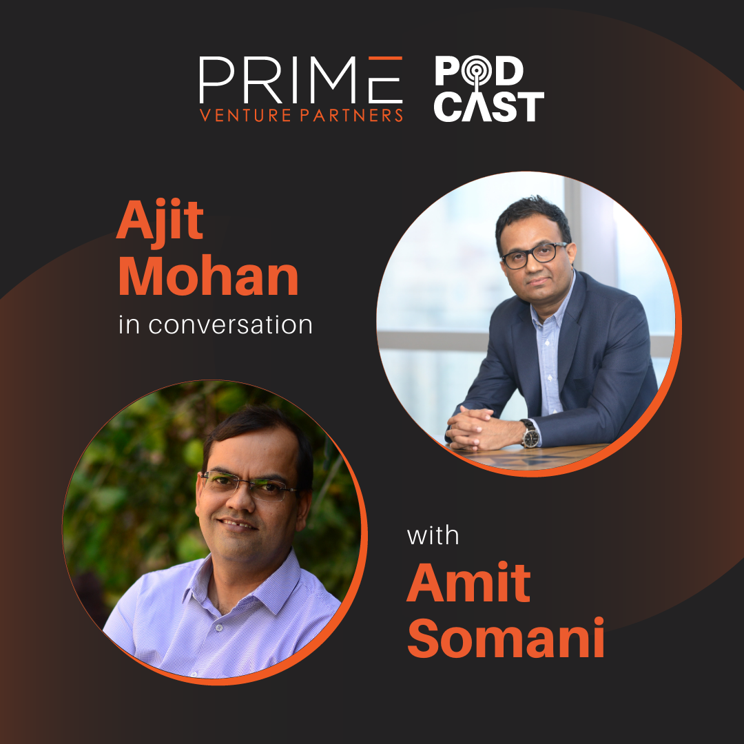 A graphic with guest(Ajit Mohan) and host's (Amit Somani) name and image.