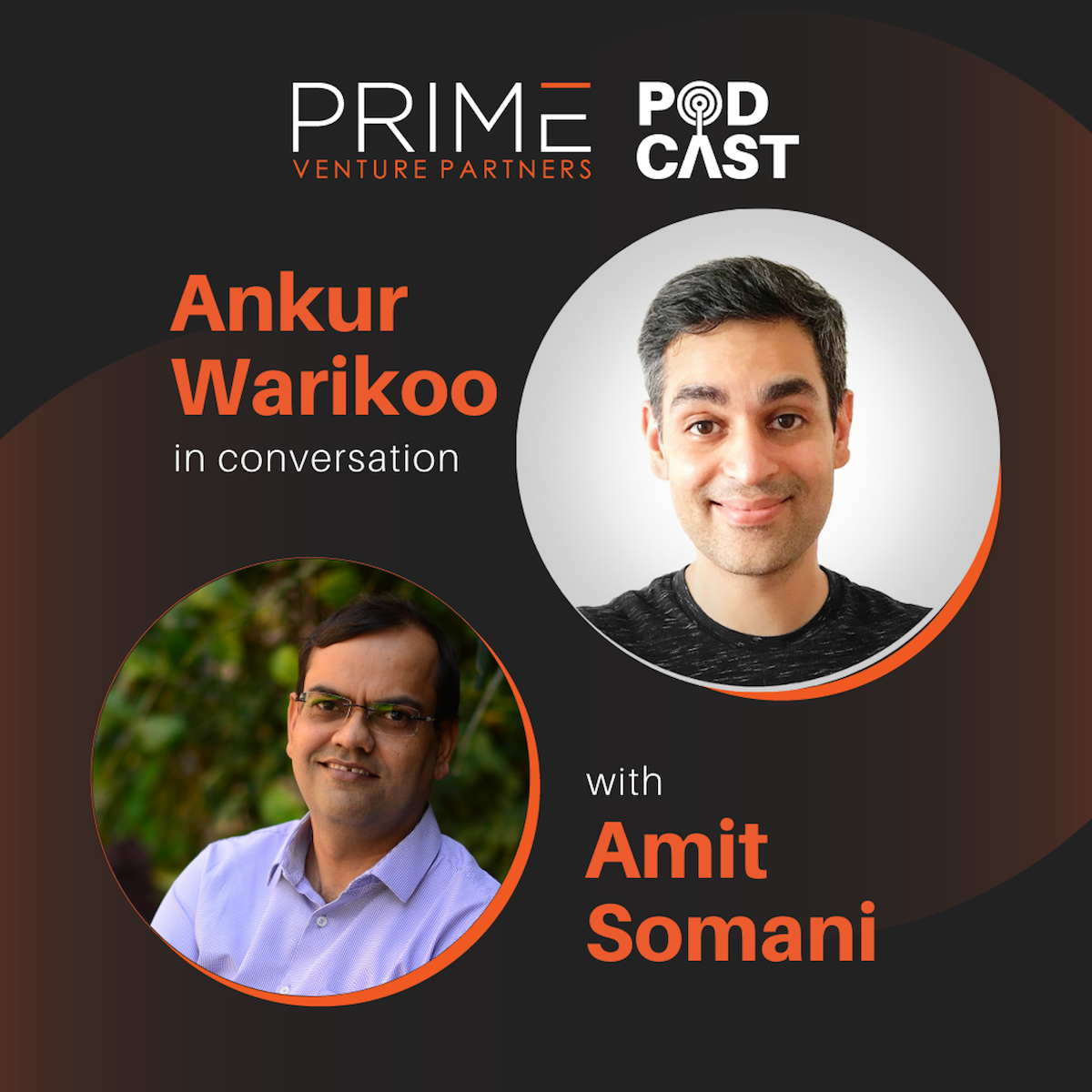 A graphic with guest(Ankur Warikoo) and host's (Amit Somani) name and image.