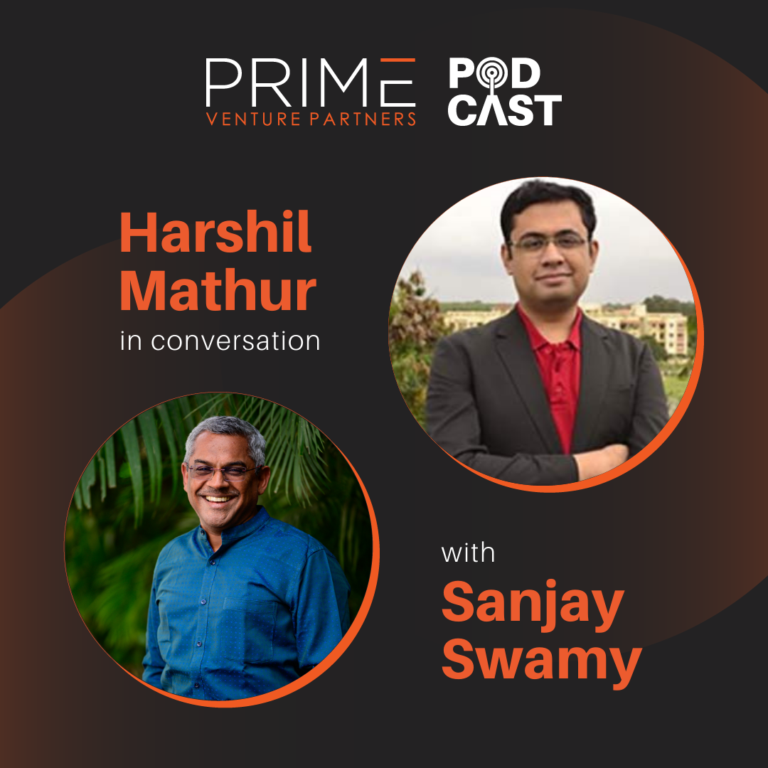 A graphic with guest(Harshil Mathur) and host's (Sanjay Swamy) name and image.