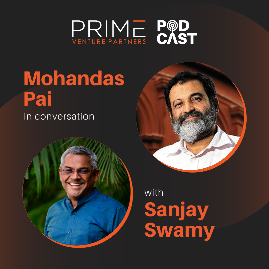 A graphic with guest(Mohandas Pai) and host's (Sanjay Swamy) name and image.
