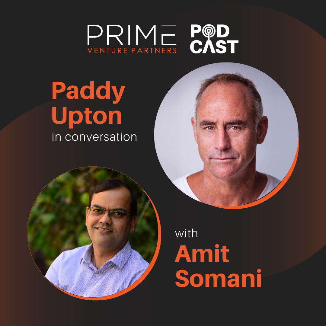 A graphic with guest(Paddy Upton) and host's (Amit Somani) name and image.