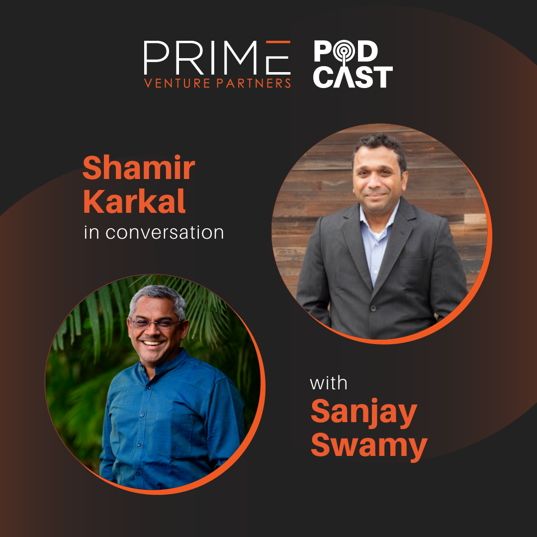 A graphic with guest(Shamir Karkal) and host's (Sanjay Swamy) name and image.