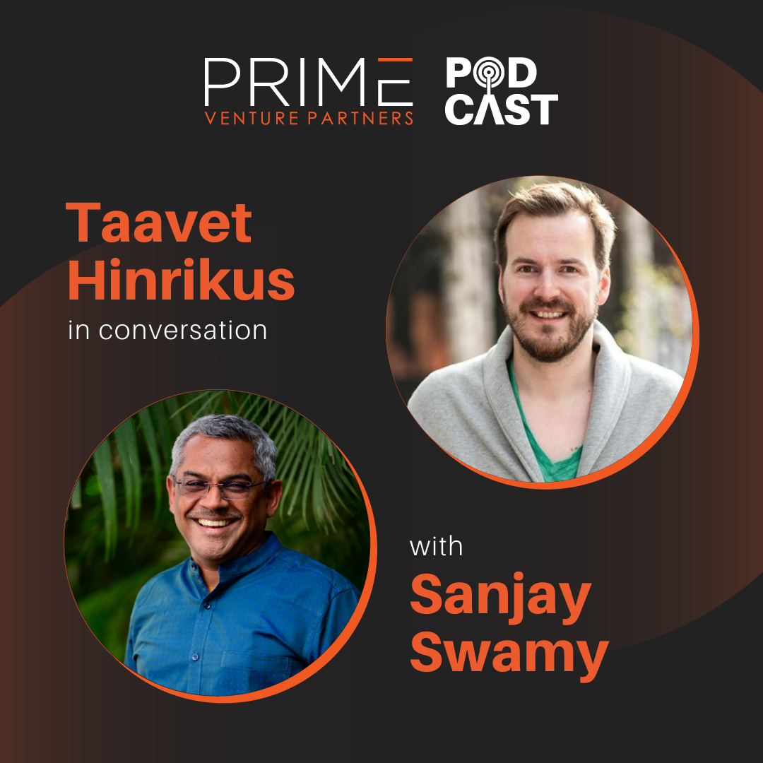 A graphic with guest(Taavet Hinrikus) and host's (Sanjay Swamy) name and image.