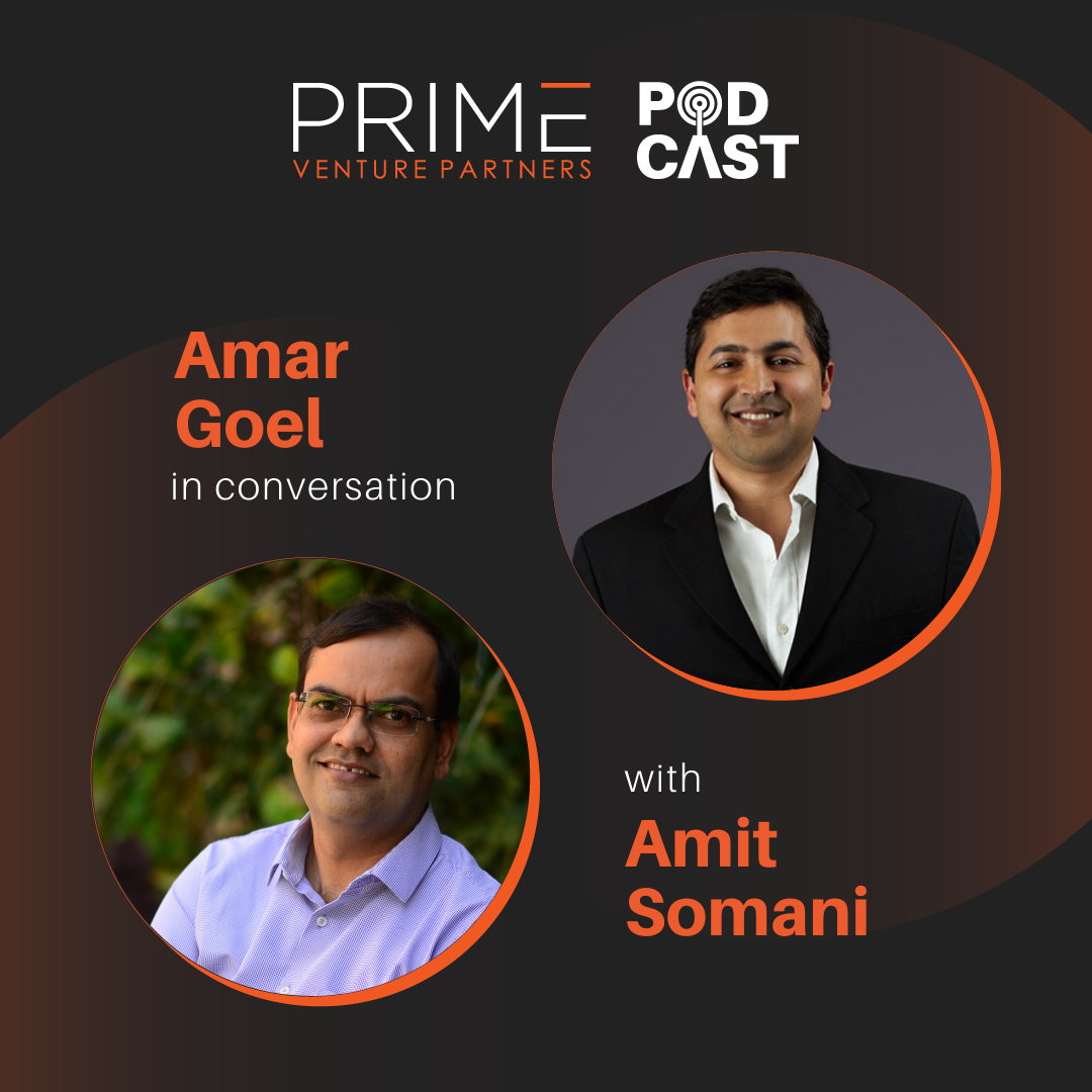 A graphic with guest(Amar Goel) and host's (Amit Somani) name and image.