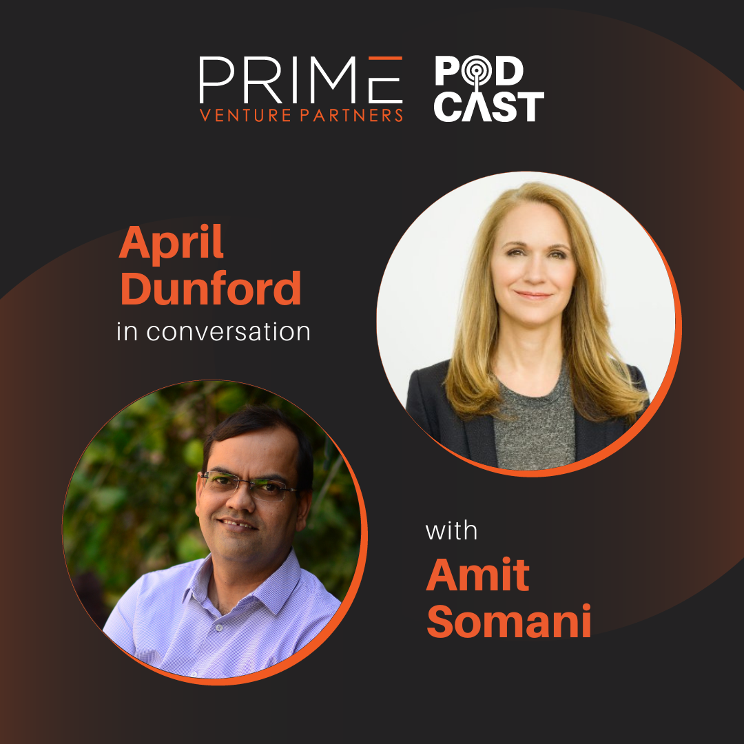 A graphic with guest(April Dunford) and host's (Amit Somani) name and image