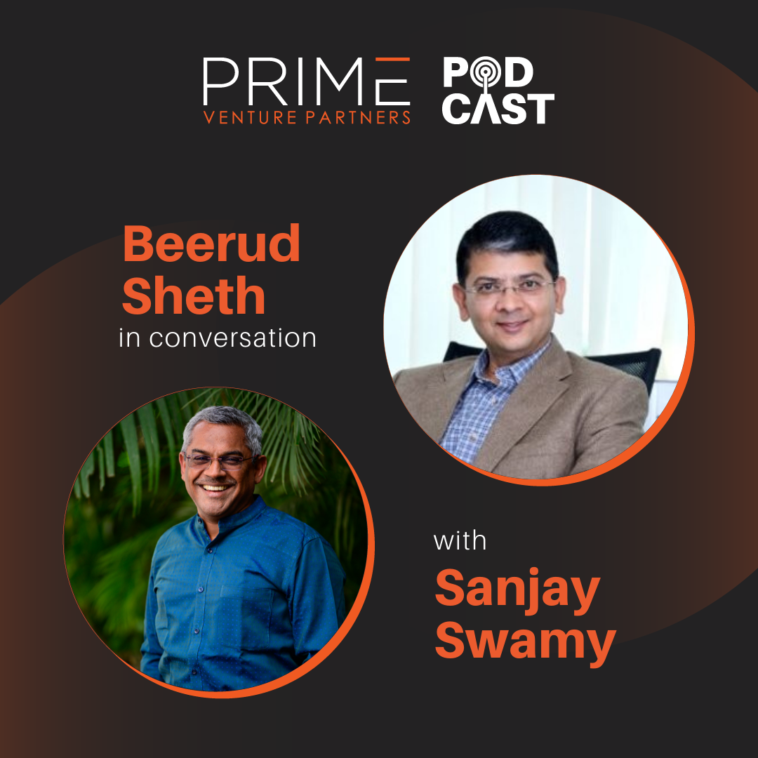 A graphic with guest(Beerud Sheth) and host's (Sanjay Swamy) name and image