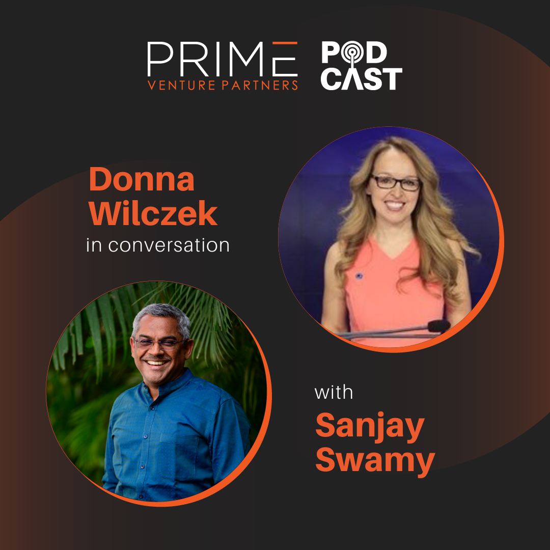A graphic with guest(Donna Wilczek) and host's (Sanjay Swamy) name and image