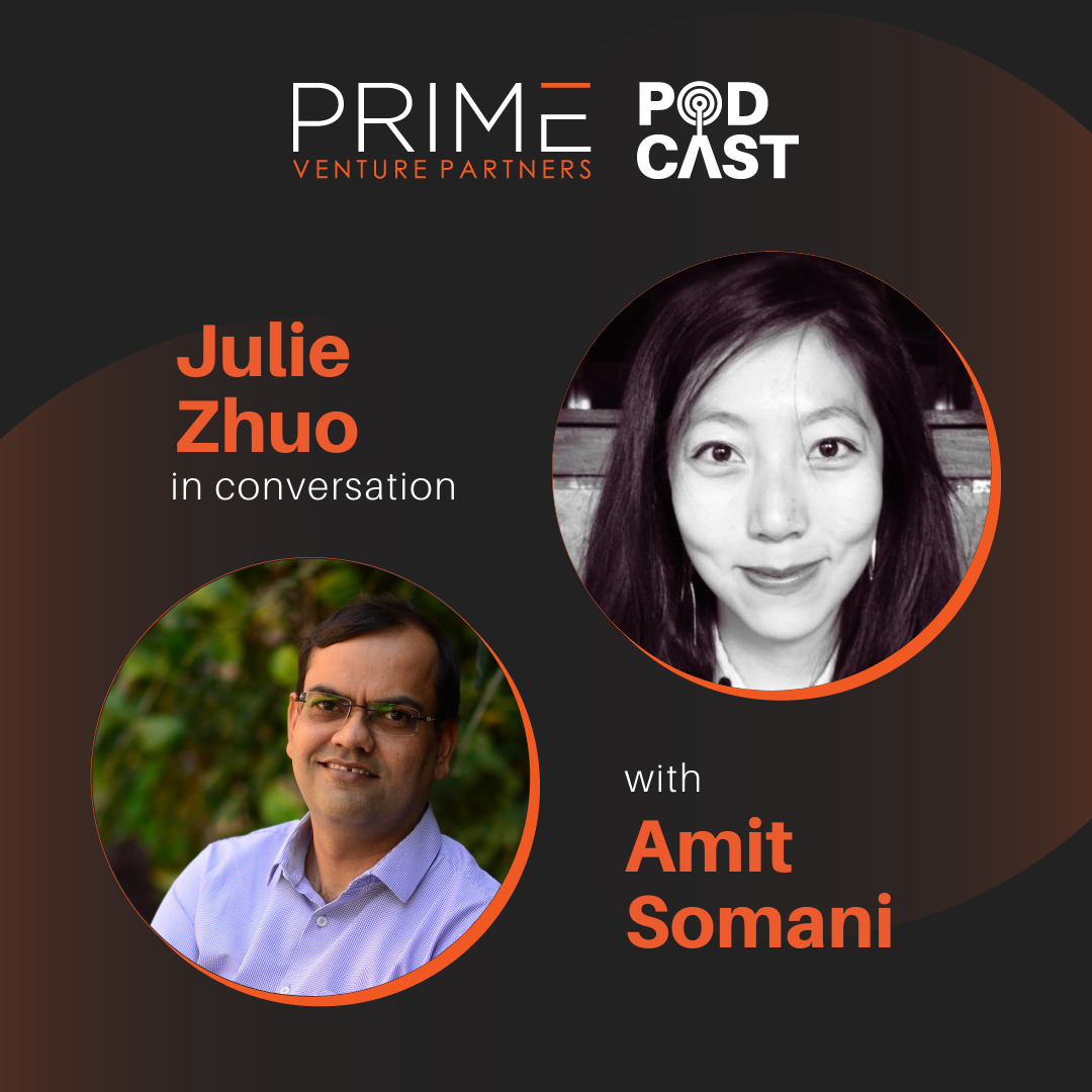 A graphic with guest(Julie Zhuo) and host's (Amit Somani) name and image