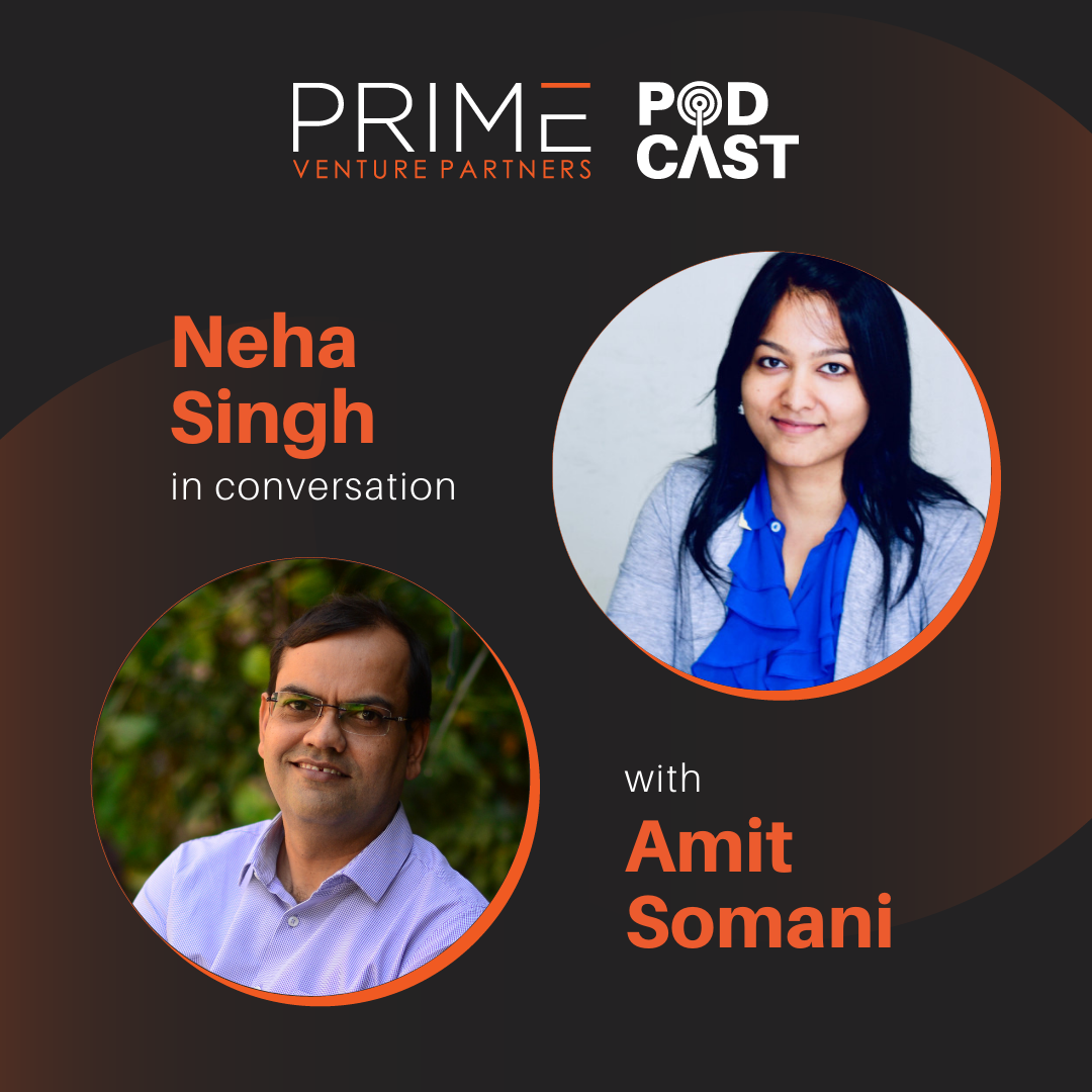 A graphic with guest(Neha Singh) and host's (Amit Somani) name and image