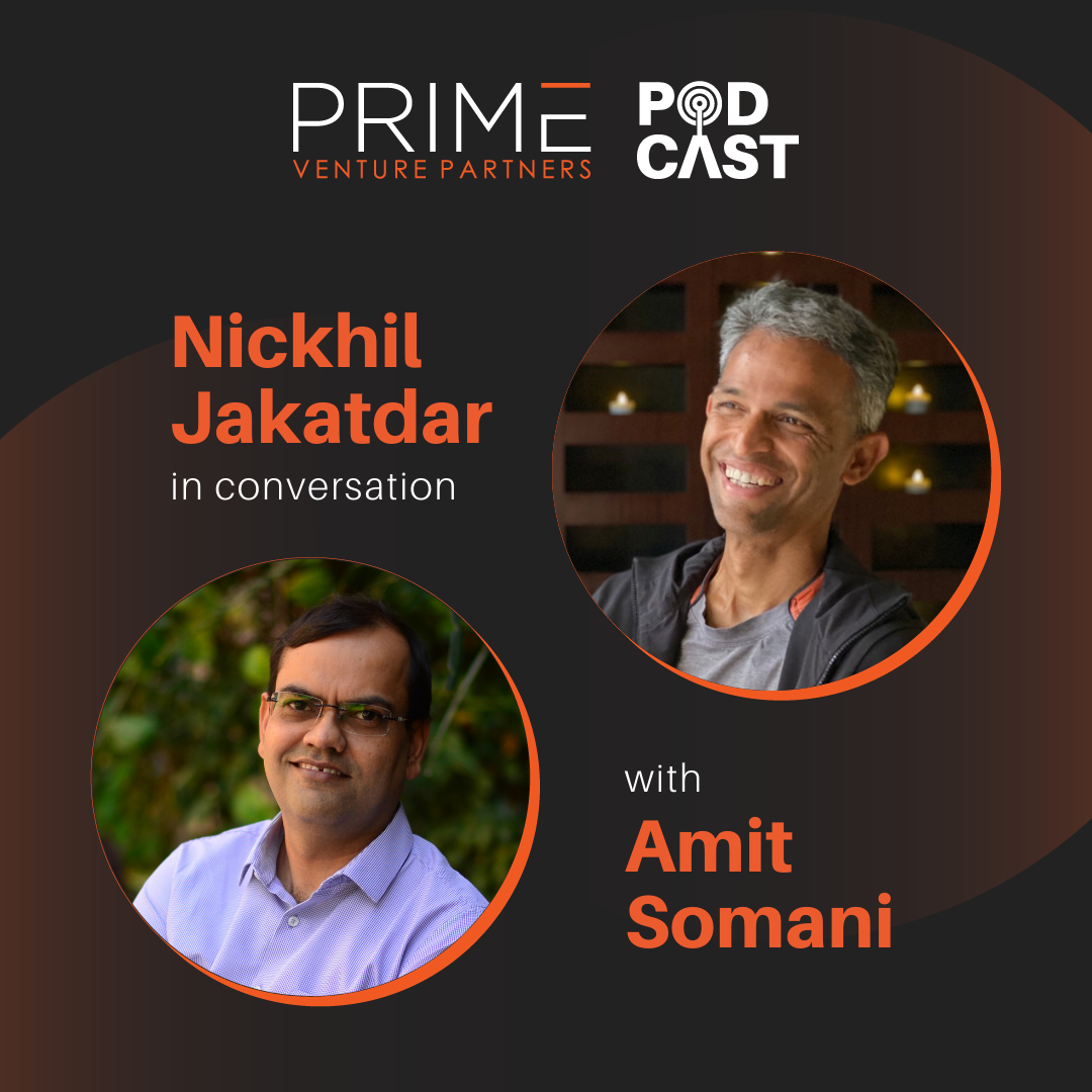 A graphic with guest(Nickhil Jakatdar) and host's (Amit Somani) name and image