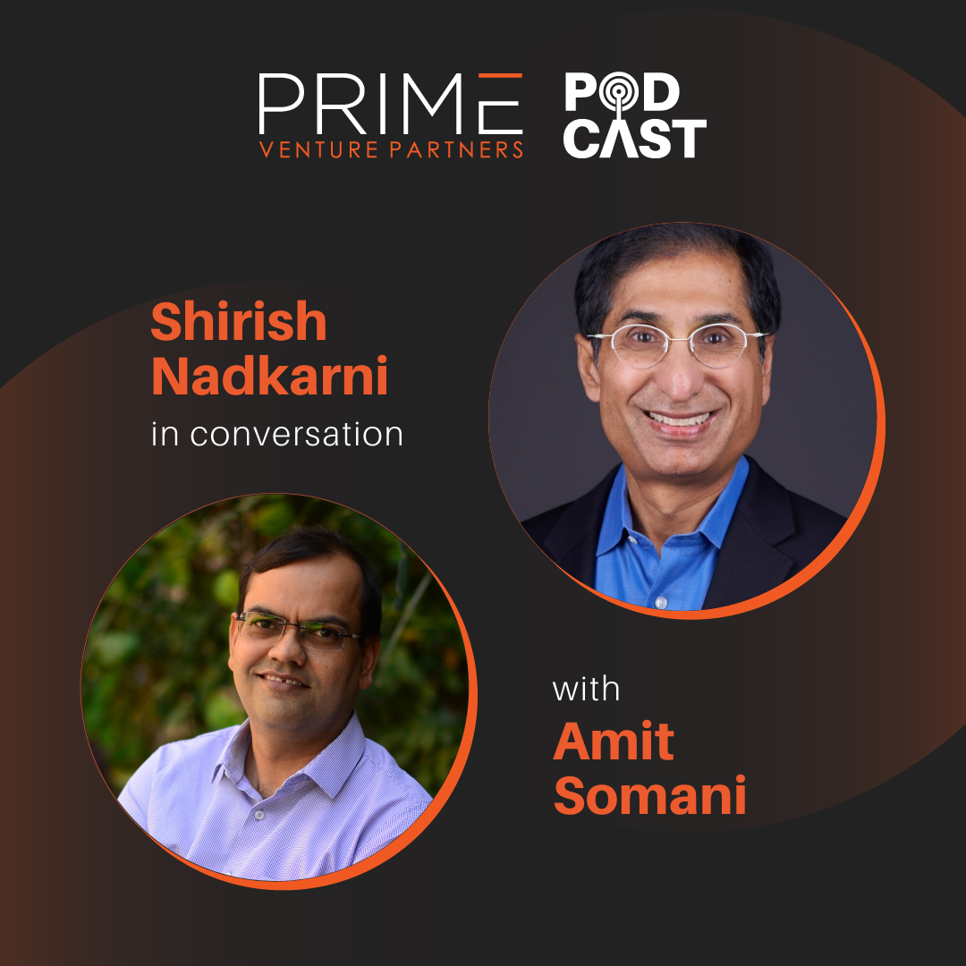 A graphic with guest(Shirish Nadkarni) and host's (Amit Somani) name and image