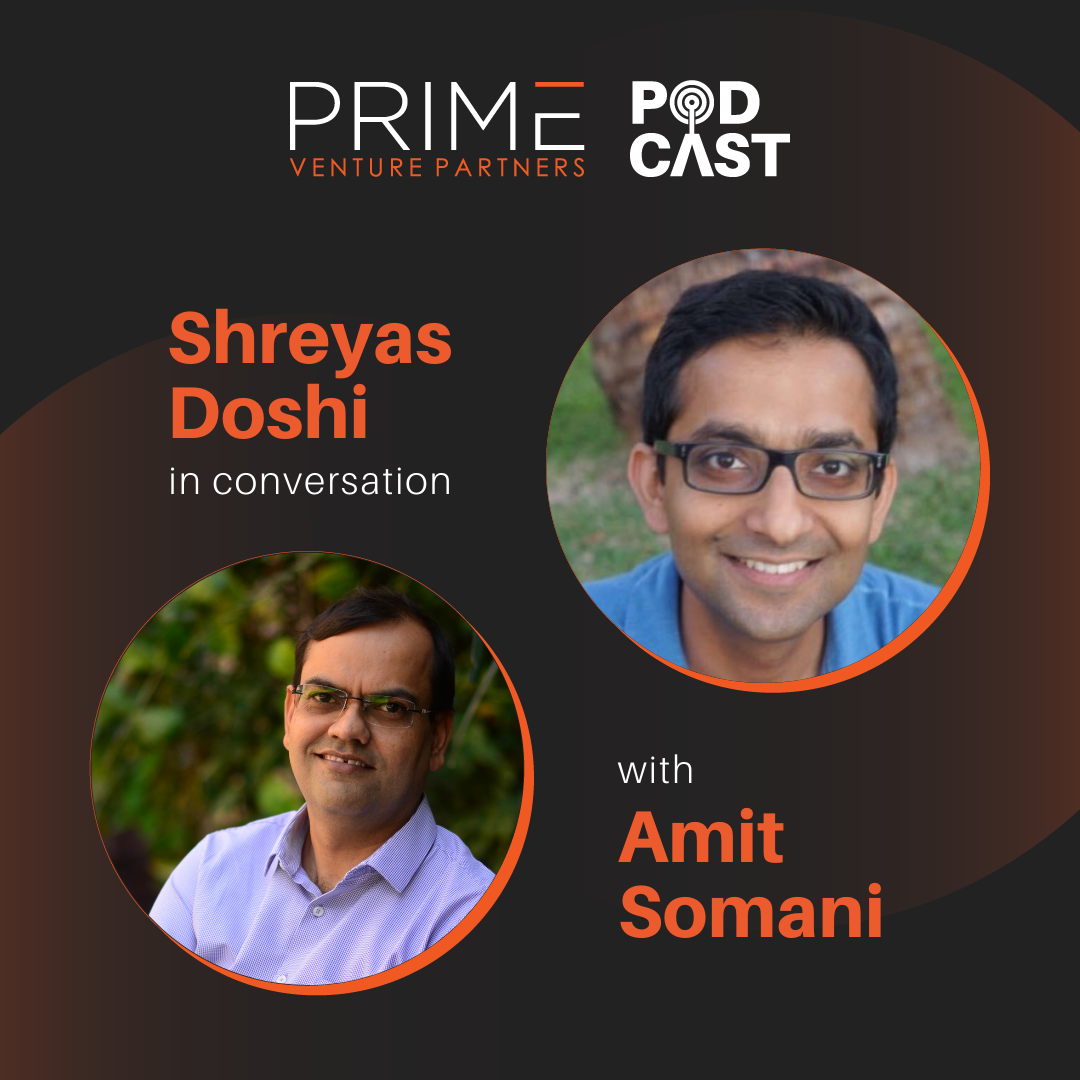 A graphic with guest(Shreyas Doshi) and host's (Amit Somani) name and image