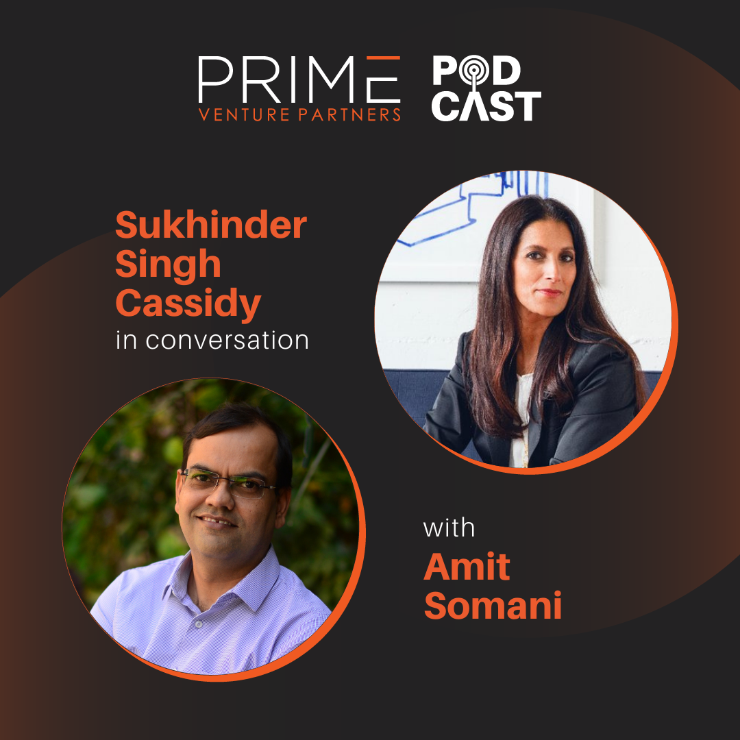 A graphic with guest(Sukhinder Singh Cassidy) and host's (Amit Somani) name and image