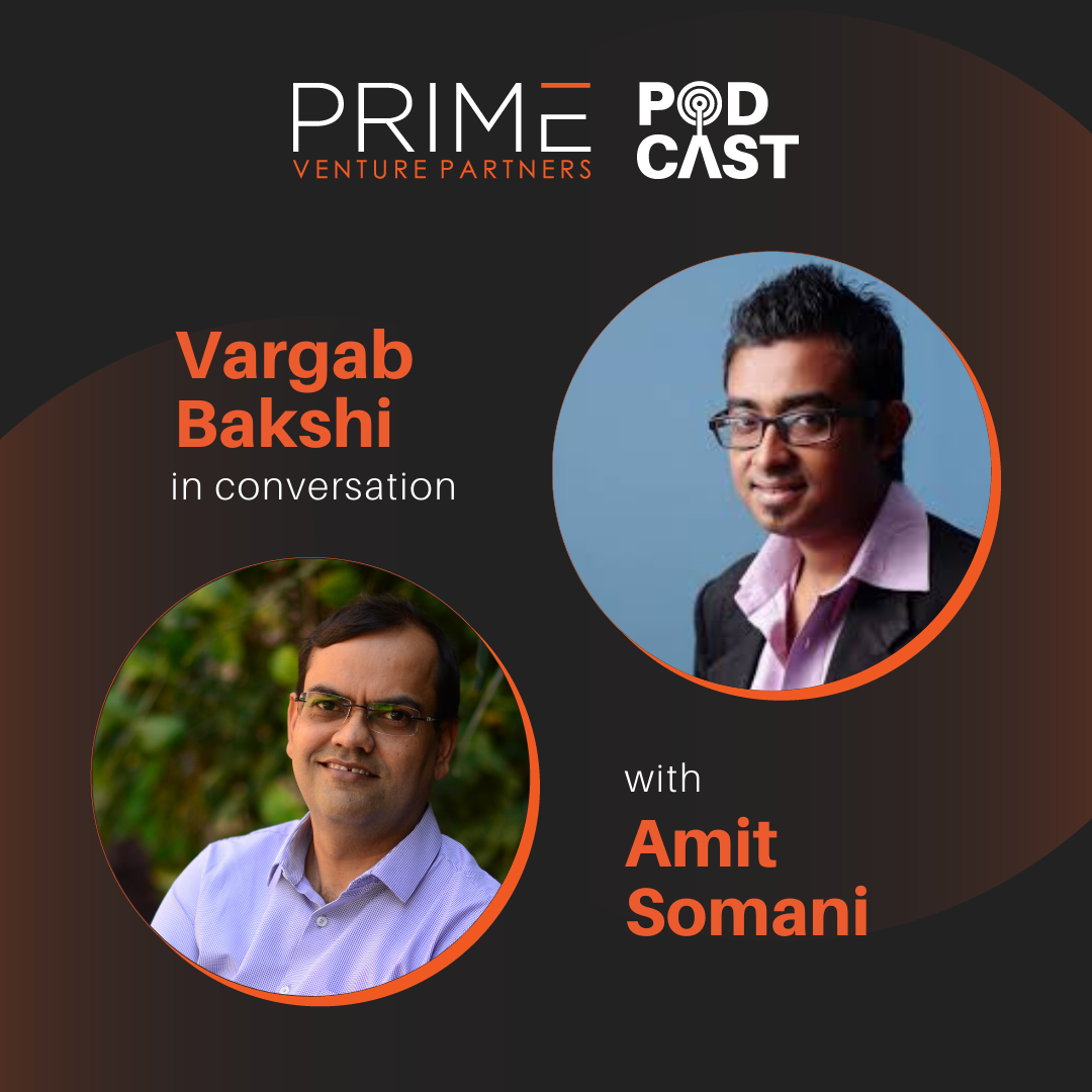 A graphic with guest(Vargab Bakshi) and host's (Amit Somani) name and image.
