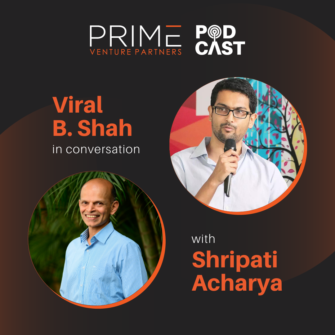 A graphic with guest(Viral B. Shah) and host's (Shripati Acharya) name and image